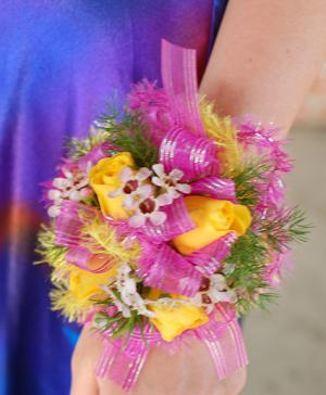 Yellow & Pink Prom Corsage Prom Flowers in Richland, WA | ARLENE'S FLOWERS AND GIFTS