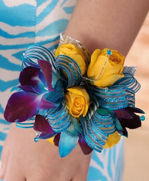 Blue & Yellow Prom Corsage Prom Flowers in Tulsa, OK | THE WILD ORCHID FLORIST