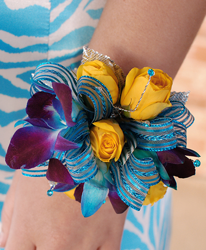 Blue yellow prom corsage prom flowers in sutton ma posies n blue yellow prom corsage prom flowers mightylinksfo