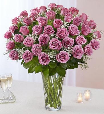 48 Lavender Roses Roses Vase