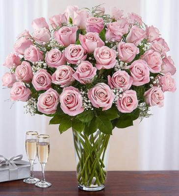 48 Pink Roses Rose Vase