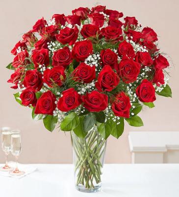 48 Red Roses Rose Vase
