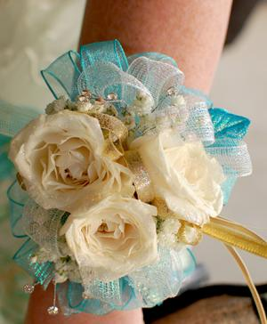 White Roses Prom Corsage Prom Flowers in Orange Beach, AL | ALL ISLAND FLOWERS