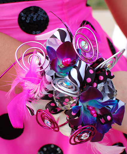 Polka dots & Hot Pink Prom Corsage Prom Flowers