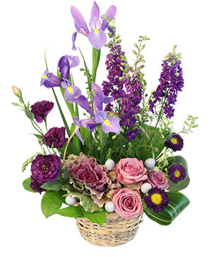 Spring's Treasure Basket Arrangement in Calgary, AB | Misty Meadow Flowers