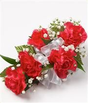 5 Mini Red Carnations Wrist Corsage FHF-302 **(PICK UP ONLY)**