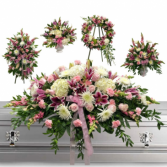5 PC LOVING PACKAGE/WAS $1,500.00/NOW $850.00  STANDING SPRAY, 2-ALTER PCS, WREATH, & 3/4 CASKET SPRAY. IN STORE CASH PURCHASE $800