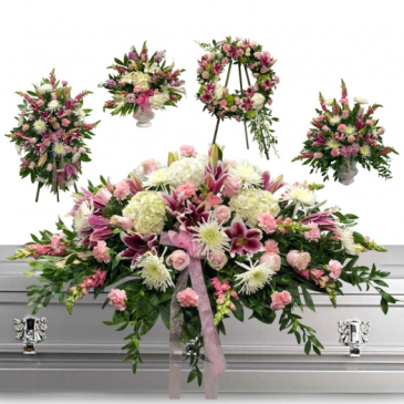 5 PC LOVING PACKAGE/WAS $1,500.00/NOW $877.00  STANDING SPRAY, 2-ALTER PCS, WREATH, & 3/4 CASKET SPRAY