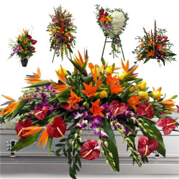 5 PC TROPICAL SEND OFF/WAS $1800.00/NOW $1300 CUSTOM TROPICAL FUNERAL PACKAGE. IN STORE CASH PURCHASE $1250