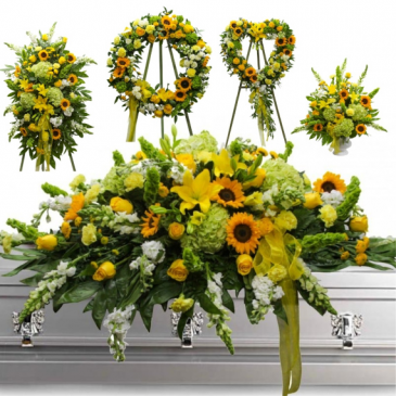 5 Piece Sunflower Funeral flower Set $1199.00 Items May be sold separately- Call for pricing