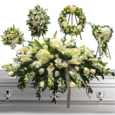 5 Piece White Funeral set- $1199.00 Items May be sold separately- Call for pricing