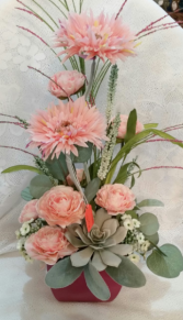 #5 pink ceramic with pink silk flowers only one available on sale now