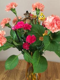 5 scary nites orange vase asst seasonal flowers