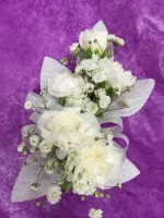 5 White Mini Carnation Wrist Corsage FHF-301 ***Pick Up Only***