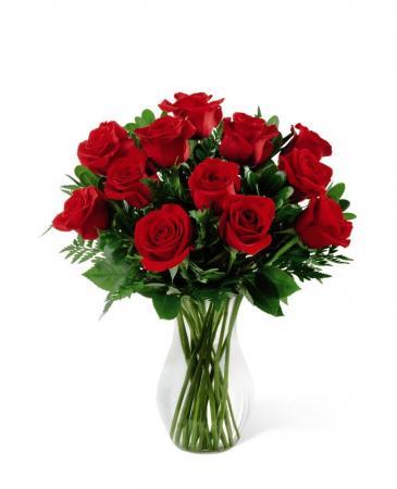 50 cm Long Stemmed Red Roses Vased Arrangement