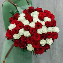 50 pink & red roses Hand bouquet