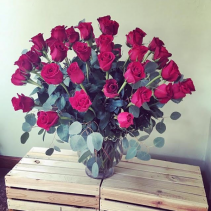50 Elegant Red Roses Vase Arrangement