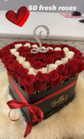 50 FRESH ROSES HEART BOX INITIAL INCLUDED