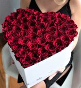 50 FRESH ROSES IN A HEART BOX