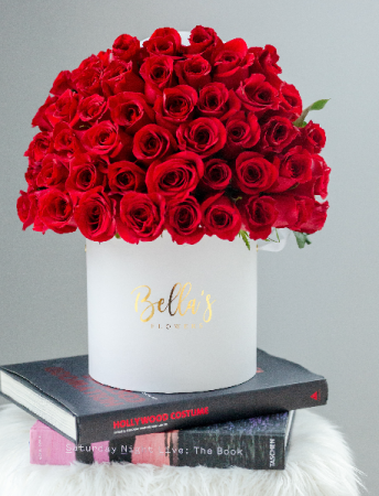 50 FRESH ROSES IN HAT BOX