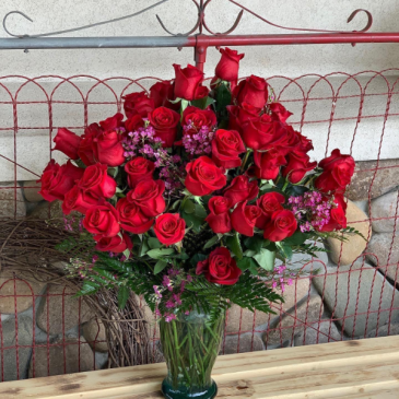 50 red and hot pink roses Fresh Roses