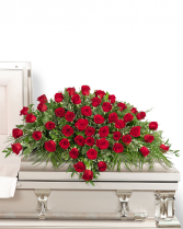 50 Red Roses Casket Spray Sympathy