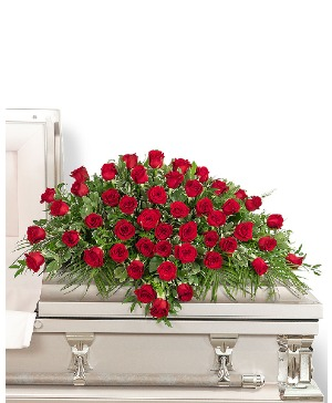 50 Red Roses Casket Spray Sympathy in Nevada, IA | Flower Bed