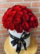 50 Red Roses in hat Box
