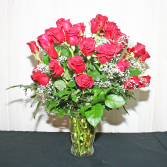 50 RED ROSES W BABY'S BREATH Roses