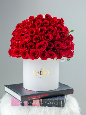 50 Roses in Hat Box  in New York, NY | Bella's Flowers New York City