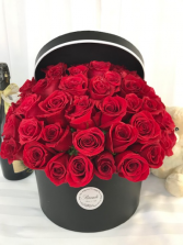 50 Roses Luxury Gift Box with Lid Flower Arrangement