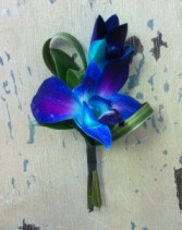 50 shades of blue orchid boutonniere