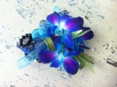50 shades of blue orchid wrist corsage
