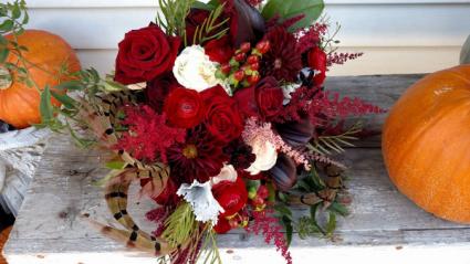 50 Shades of Burgundy Bride bouquet