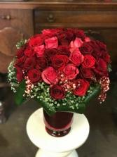 50 Valentines Roses Vase Arrangement