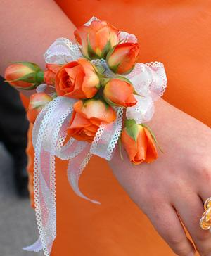 Orange Roses Prom Corsage Prom Flowers in Bowerston, OH | LADY OF THE LAKE FLORAL & GIFTS