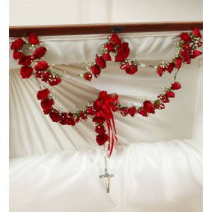 53   RED ROSARY SYMPATHY ARRANGEMENT in East Northport, NY | FLOWERS BY FRED