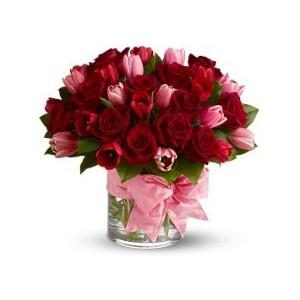 Rose tulip triumph compact design of red roses pink tulips in rose tulip triumph compact design of red roses pink tulips mightylinksfo