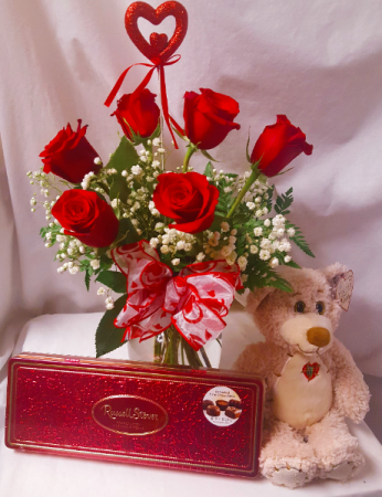 """""""BE MINE BOUQUET""""...MOST FAVORITE! 6 RED  ROSES ARRANGED IN A VASE WITH HEART PIC, MEDIUM BEAR, AND BOX OF CHOCOLATES!"""