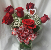 """BEST SELLER!  """"HEARTS AND ROSES"""" 6 RED ROSES with baby's breath,  a bow and a heart pic ALL ARRANGED IN A VASE!"""