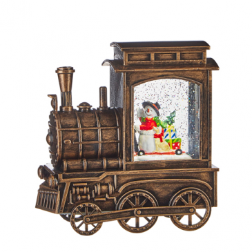 "6.75"" Snowman in Lighted Musical Train"