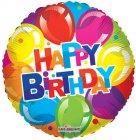 "6 assorted 18"" happy birthday mylar balloons"