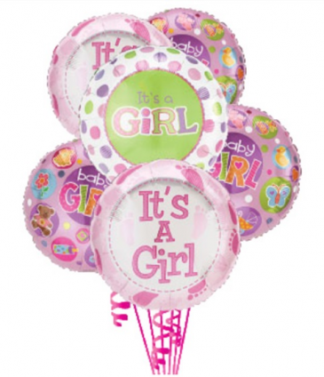 6 Baby Girl Balloons balloons