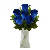 6 Blue Velvet Roses