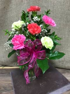 Brighten your day with carnations Vase arrangement