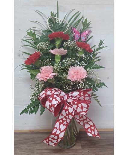 Brighten your day with carnations Vase arrangement