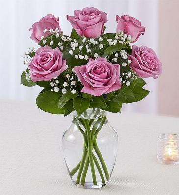 6 Lavender Roses Arranged Vase Arrangement