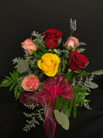6 Multi Color Roses