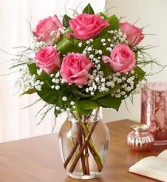 6 Pink Roses Arranged in a Vase