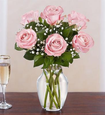 6 Pink Roses Arranged  Vase Arrangement